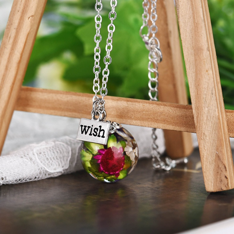 Natural Real Dried Flower Glass Pendant Necklace Women Jewelry Gift A