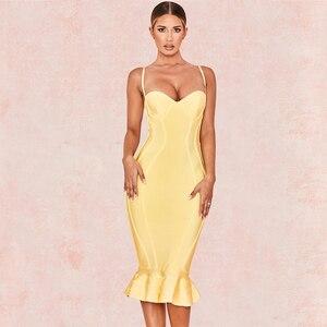 Image 4 - 新セレブイブニングパーティー包帯ドレス女性スパゲッティストラップレスセクシーなナイトクラブボディコンドレス女性マーメイドvestidos