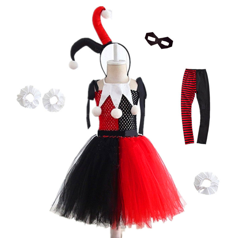 Halloween Costume For Kids Clown Female Harry Quinn Anime Cosplay Costumes Carnival Christmas Party Clothing Cos Dress For Girls