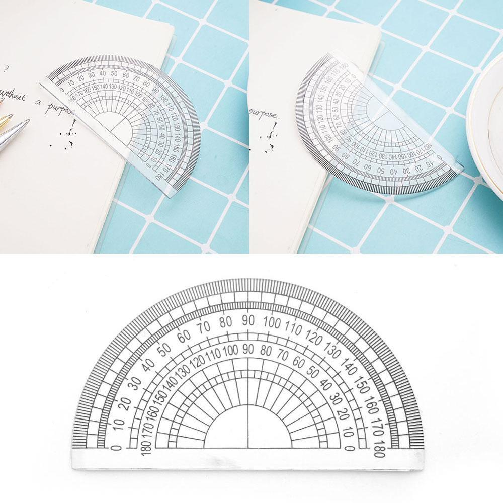 10PC Plastic Protractor 180 Degrees Clear Student Math Set Measurment Student Painting Triangle Ruler Angle Measuring Tools