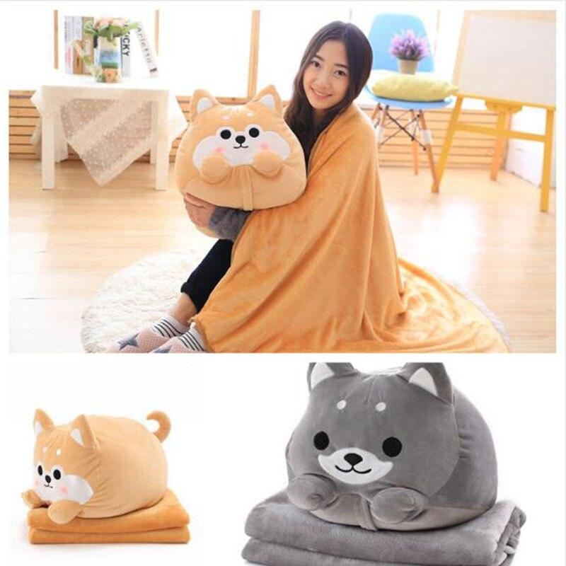 Cute Dog plush Toy Shiba Inu Shape Stuffed Pillow Animal 2 In 1 Cushion With Blanket Birthday Gift Baby Kids Toy