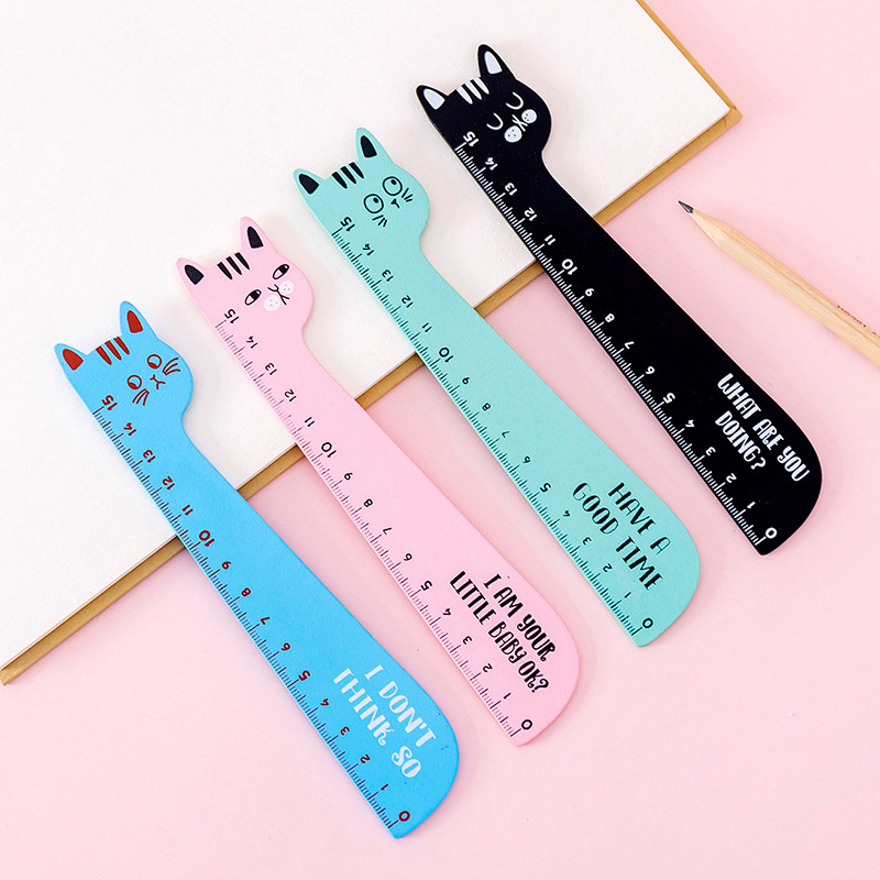 1 Pc 15CM Cute Cat Wooden Rulers Kawaii Cartoon Rulers For Childrens Girls Gift School Office Supplies Measure Tools Stationery