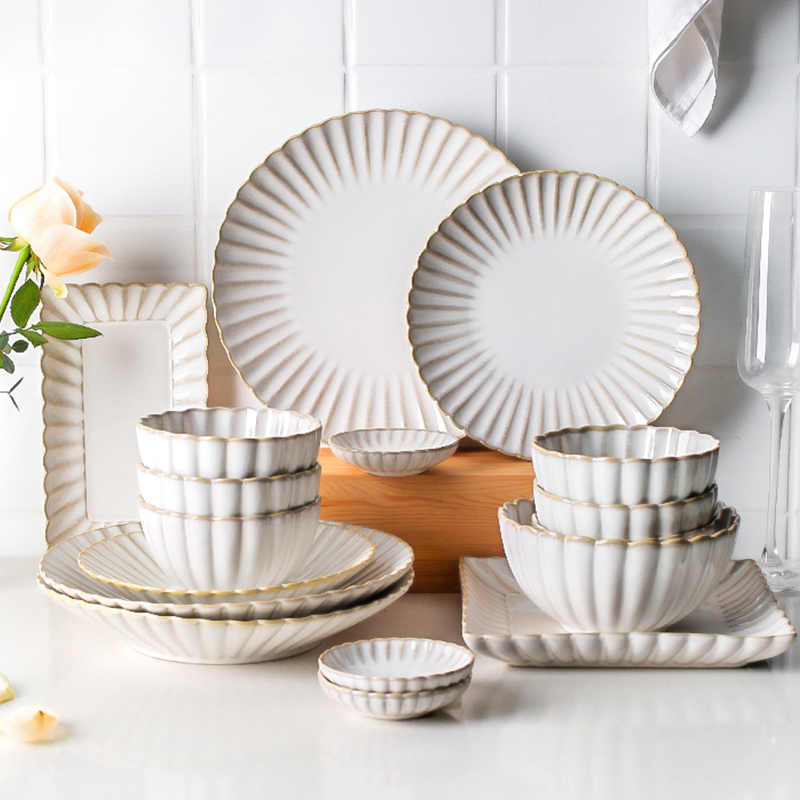Набор белых керамических тарелок, домашняя тарелка, миска для стейка, салат, посуда, креативные блюда для завтрака, тарелки, наборы, кофейная...