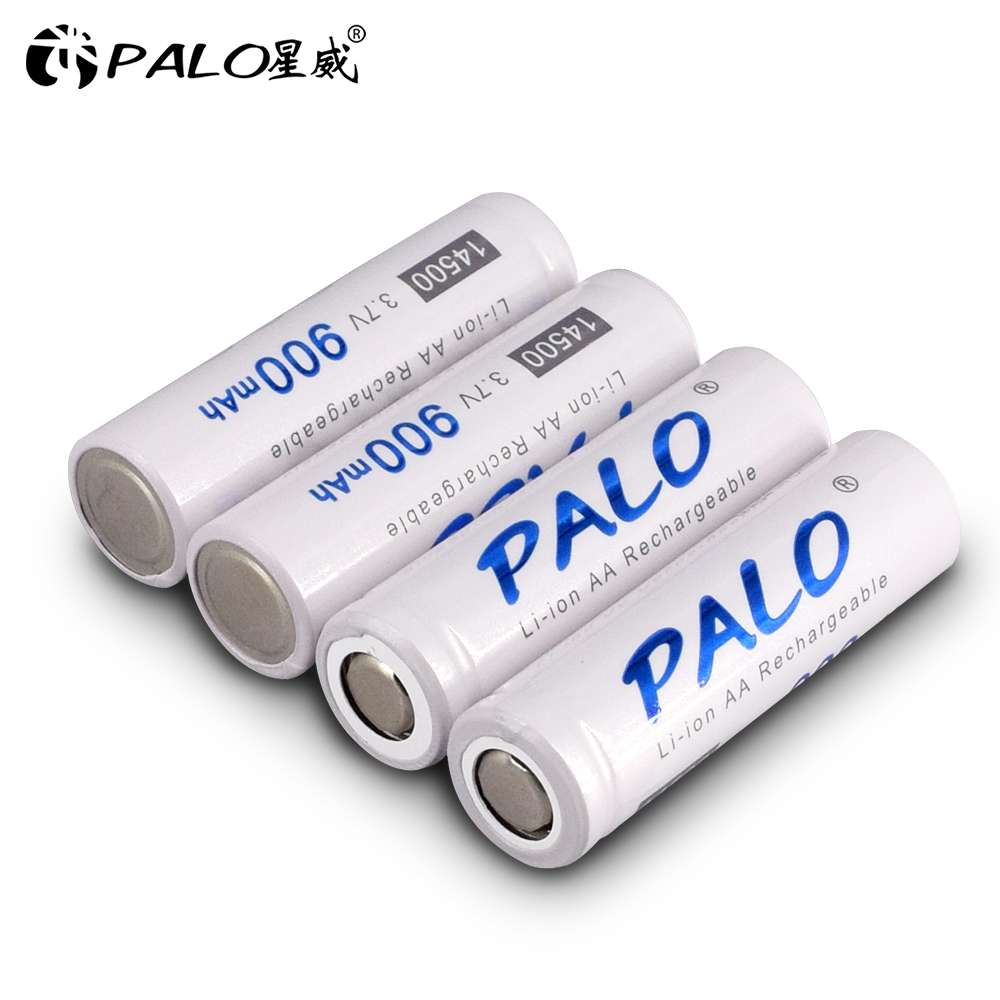 PALO 3.7V LI-ION bateria 14500 li-ion Original 900mah 14500 rechargeable battery Lithium battery for camera Flashlight radio toy image