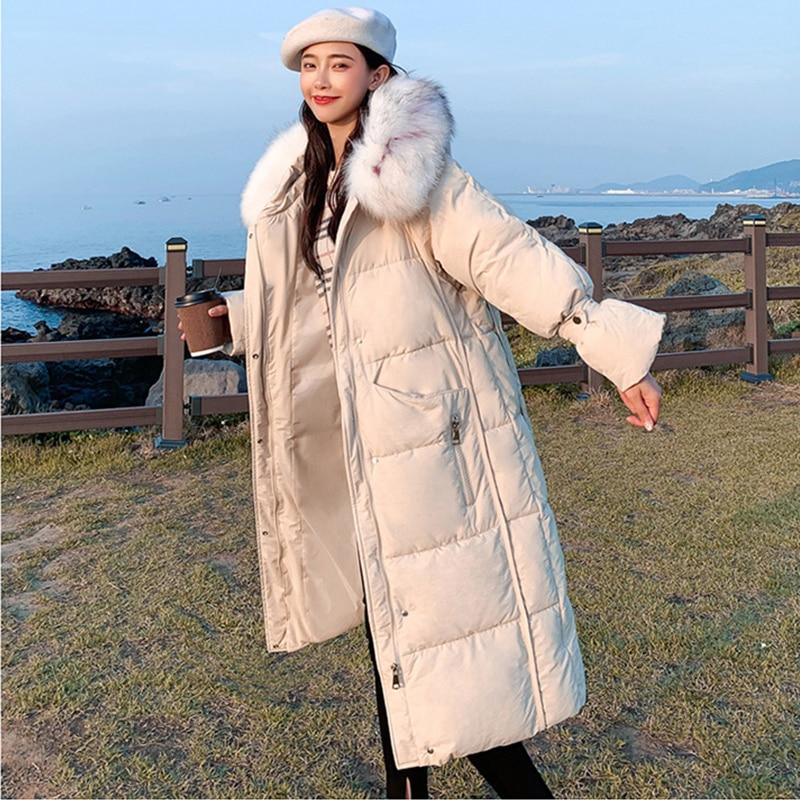 Long Fur Hooded   Down     Coats   Women Winter Korean Thicken Warm Plus Size Cotton Jackets   Coats   Harajuku Female Loose Parkas Fashion