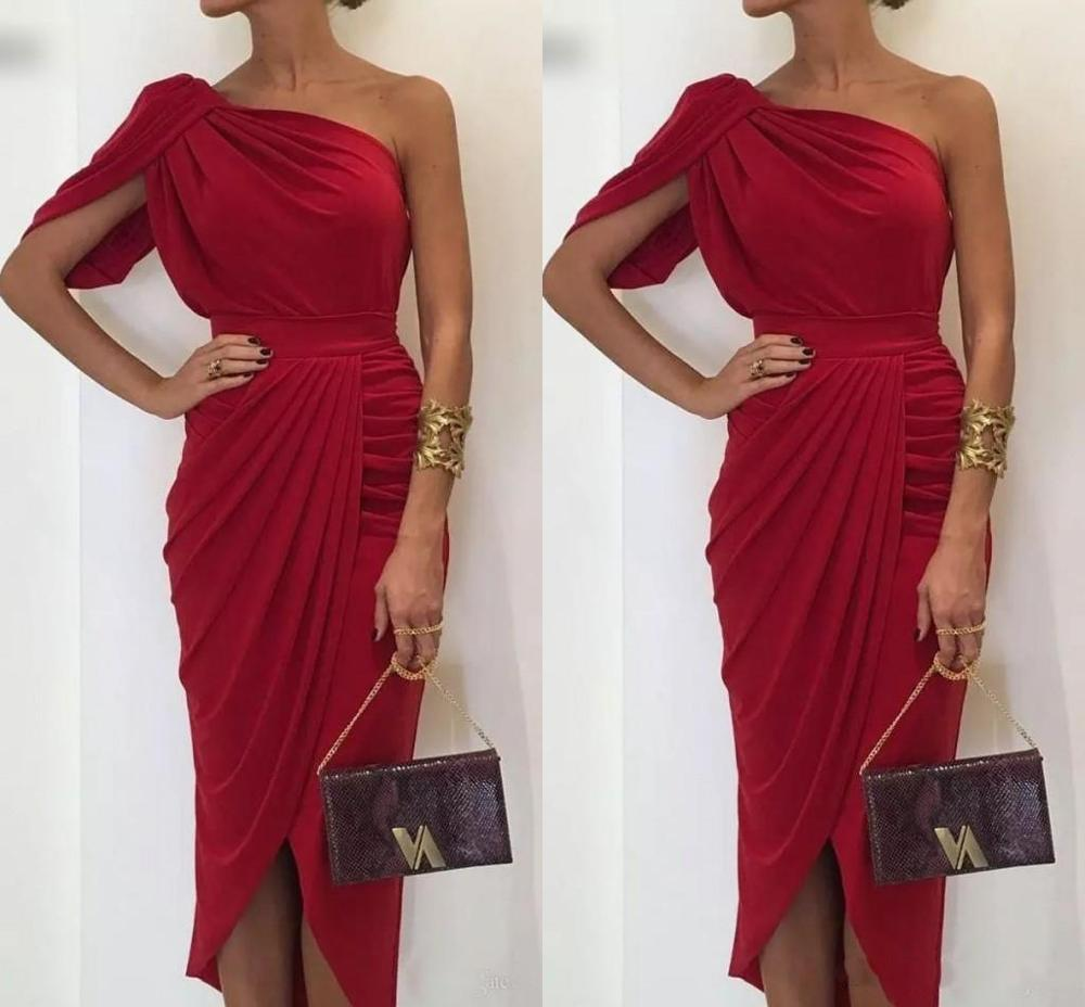 Elegant Dark Red Mermaid Mother Of The Bride Dresses One Shoulder Chiffon Sheath Prom Dress High Low Women Party Gowns Costomize