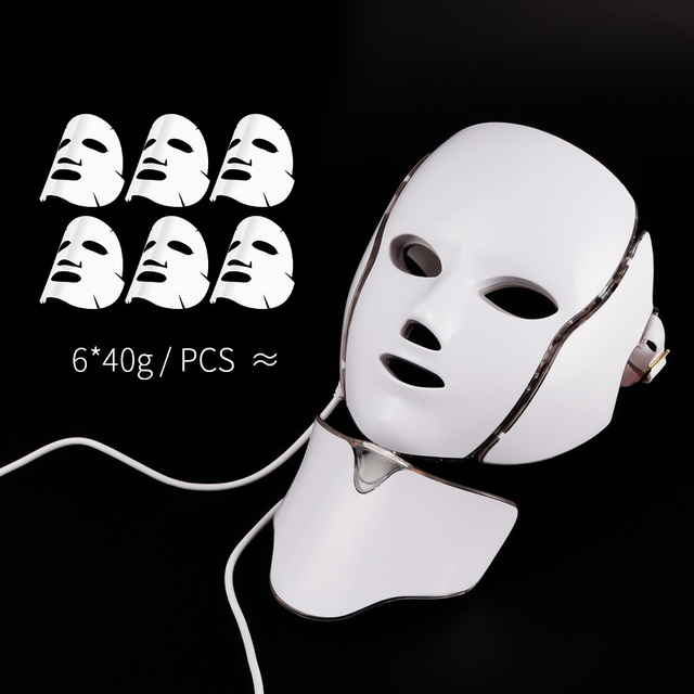7 Colors LED Facial Mask Beauty Skin Rejuvenation Photon Therapy Acne Mask Neck Face Skin Tighten Wrinkle Removal Whitening 1