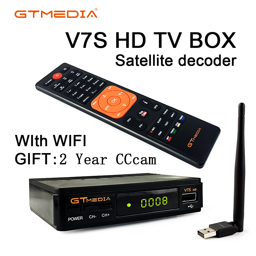 DVB-S2 Freesat V7 HD With WIFI FTA Satellite Receiver Gtmedia V7s Hd Send 2 Years Cccam Support European Online Network Sharing