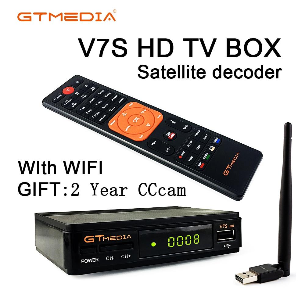 DVB-S2 Freesat V7 HD With WIFI FTA Satellite Receiver Gtmedia V7s Hd Send 2 Years Cccam Support European Online Network Sharing