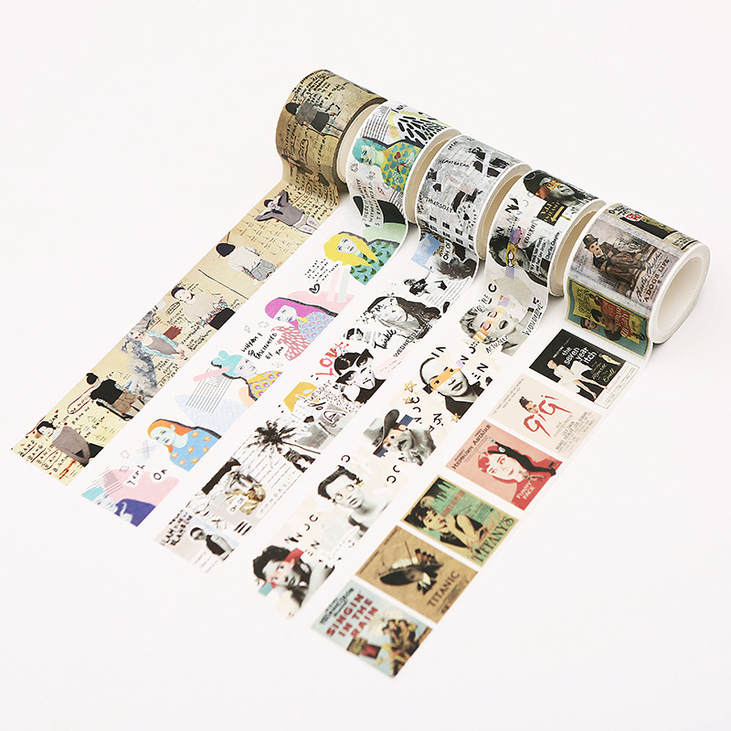 20/30/40/60mmx7m Vintage Masking Tape Decorative Wide Retro Washi Tape Stationery Adhesive Crafts DIY Scrapbooking Office Supply