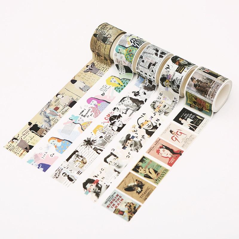 20/30/40/60mmx7m Vintage Masking Tape Decorative Wide Retro Washi Tape Stationery Adhesive Crafts DIY Scrapbooking Office Supply