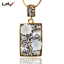 LEEKER Women Vintage Gray Pearl Square Pendant Long Necklace With Cubic Zirconia Black Gold Color Snake Chain 304 LK2