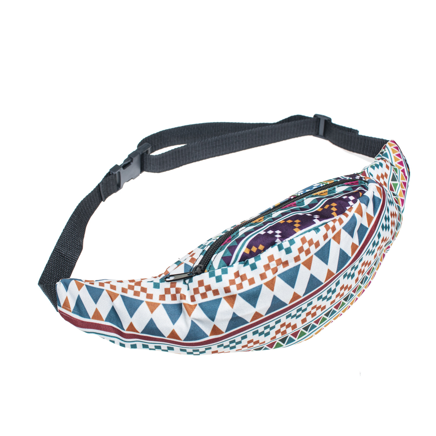 New Colorful Waist Pack For Men Fanny Pack Style Bum Bag Retro Geometry Women Money Belt Travelling Waist Bag