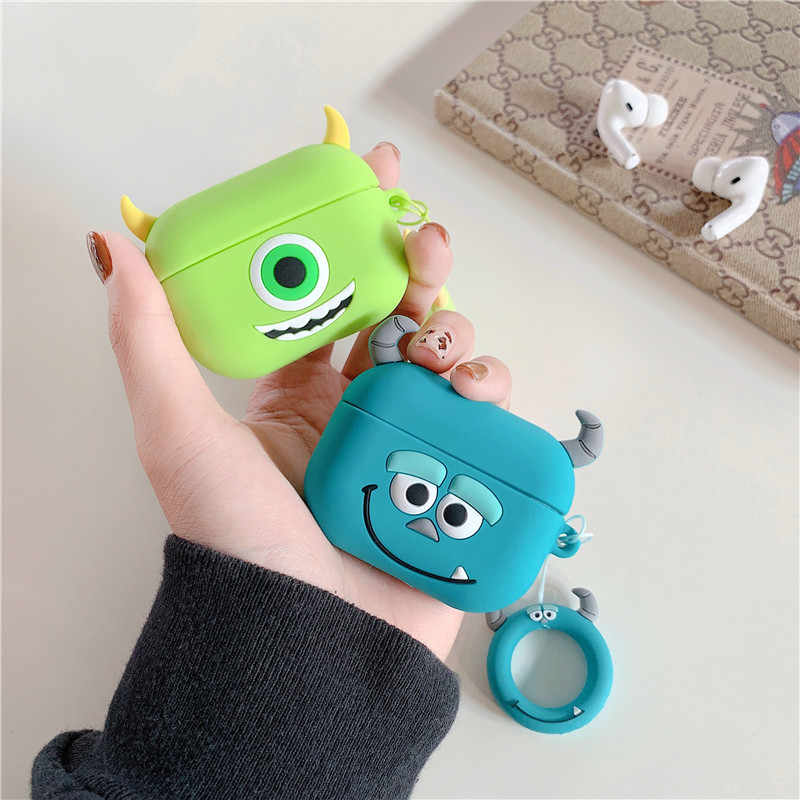 Dla Airpods Pro 3D Cute Cartoon potwory Mike Sulley Earpods Case dla apple Airpods 3 Kawaii bezprzewodowa osłona na słuchawki Shell Box