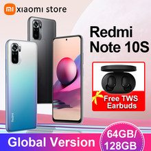 Versão global xiaomi redmi nota 10s smartphone 6gb 64gb 128gb 64mp quad câmera helio g95 6.43