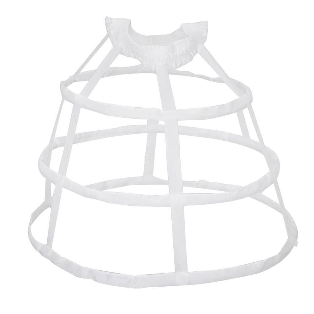 Women 3 Hoops Pannier Petticoat Hollow Out Birdcage Skirt Wedding Bridal Ruffles Wide Waistband Crinoline Slip Underskirt Bustle