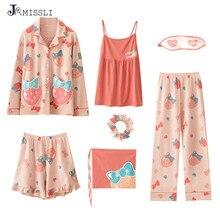 Jrmissli algodão melancia impressão pijamas conjunto 7 peça conjunto retalhos mulher pijama terno primavera outono feminino sem alças