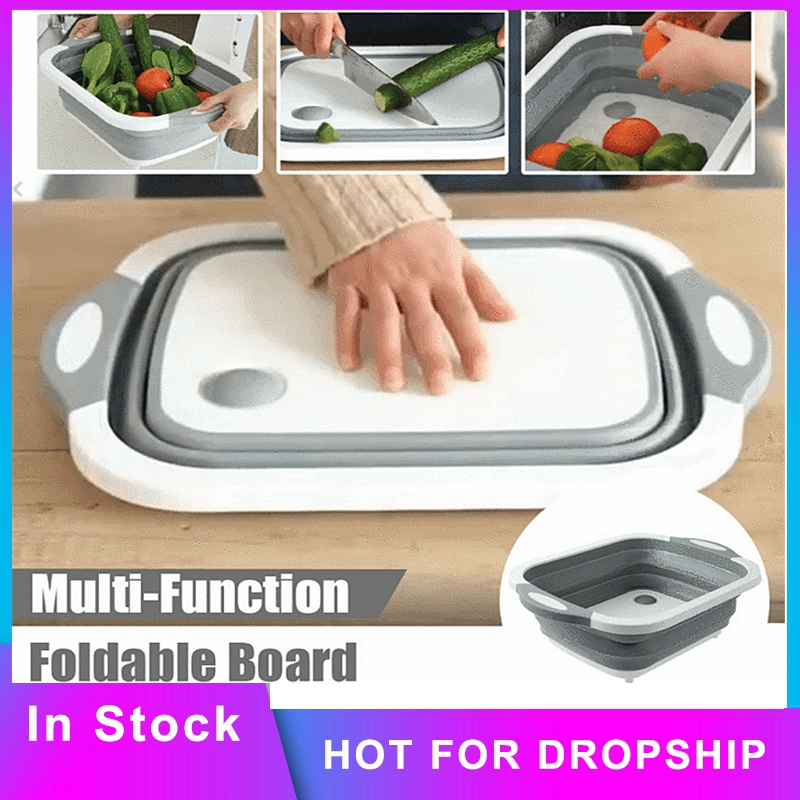 Foldable Multi-Function Chopping /Cutting Board Collapsible Colander Vegetable Fruit Washing Basket Bowl Kitchen Organizer Tool