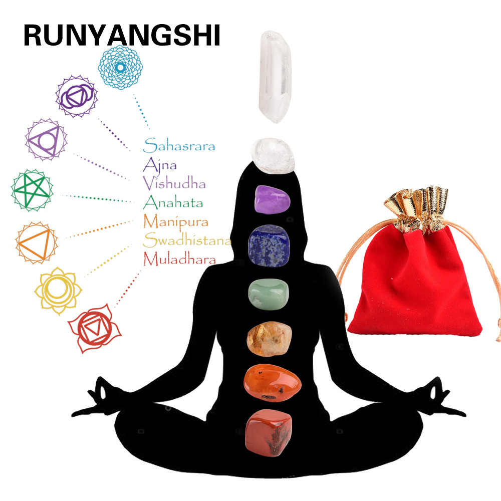 Runyangshi 7pc Natural Irregular Chakela Stone Set 7 Colors Yoga Energy Art Stone for Home Decoration Girls Birthday Gift