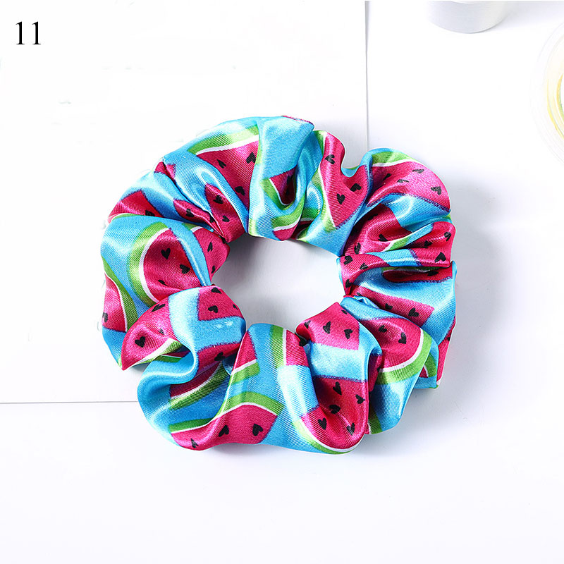 New Women Elegant Print Flower Satin Crude Elastic Hair Bands Ponytail Holder Sweet Hair Scrunchie Pack Fashion Hair Accessories