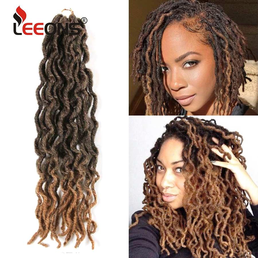 Leeons Faux Locs Crochet Hair 12/18Inch Ombre Bohemian Gypsy Hair Extension Crochet Braid Natural Soft Synthetic Locs Brown Hair