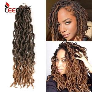 Leeons Faux Locs Crochet Hair 12/18Inch Ombre Bohemian Gypsy Hair Extension Crochet Braid Natural Soft Synthetic Locs Brown Hair(China)