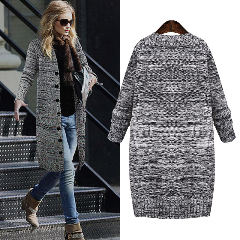 Simple Casual Knitting Long Loose Cardigan Female Jumper Winter Sweater Women Pocket Knitted Cardigan Plus Size5XL