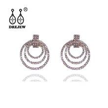 DREJEW Circle Geometric Rhinestone Statement Earrings 925 Gold Silver Needle Drop Sets for Women Wedding Jewelry HE679