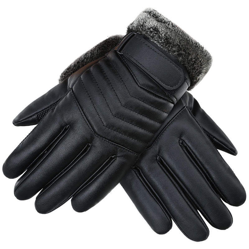 2019 Winter New Men's Warm Leather Gloves With Super Warm Fleece Male Outdoor Sport Motocycle Gloves Touch Screen Windproof Luva