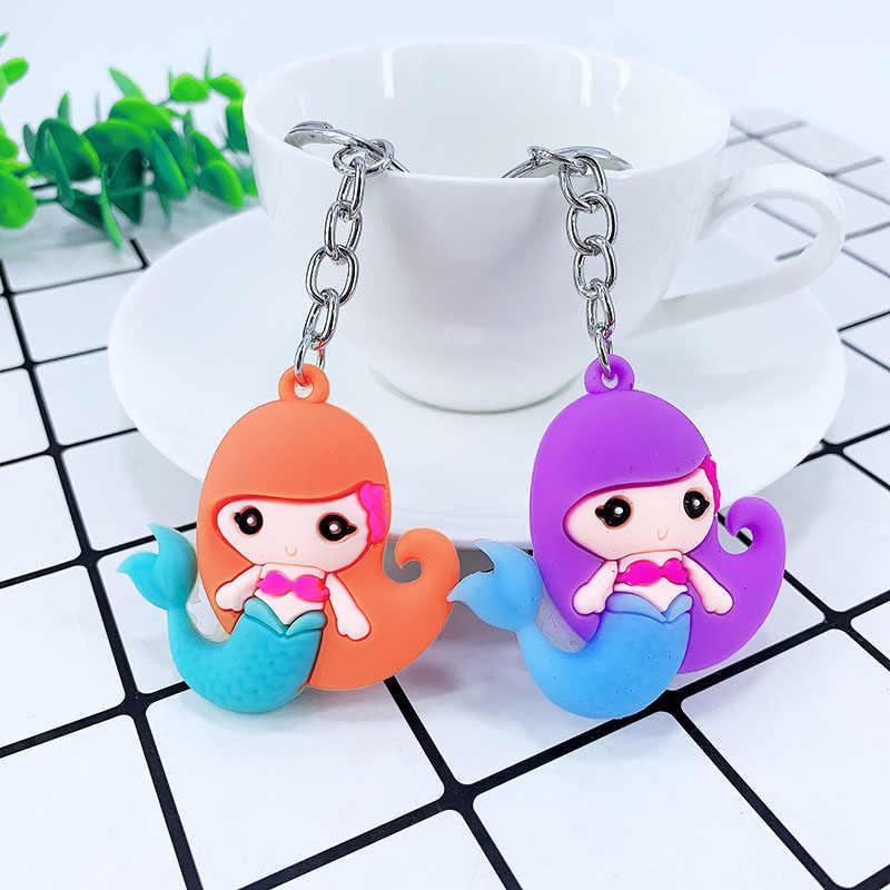 Nova criativa dos desenhos animados PVC sereia liga keychain saco chave do carro pingente crianças presente de aniversário da menina