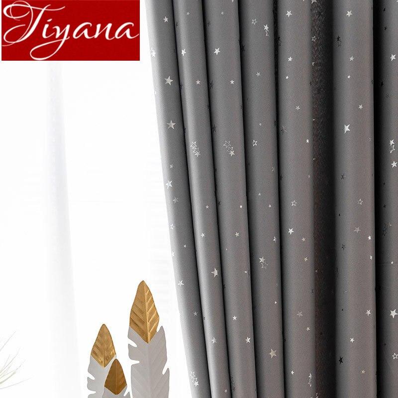 Grey Curtain Cartoon Sliver Shining Stars for Baby Kids Room White Sheer Voile Drape for Living Room Blackout Treatment T&123#30