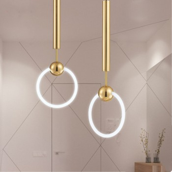 Nordic LED Loft Minimalist Style Dining Room Pendant Lamp Gold Ring Cafe Restaurant Decoration Lamp Free Shipping LED Bulbs Iron postmodern curve style living room lamp dining room light bedroom lamp led light free shipping led bulbs cord pendant metal iron
