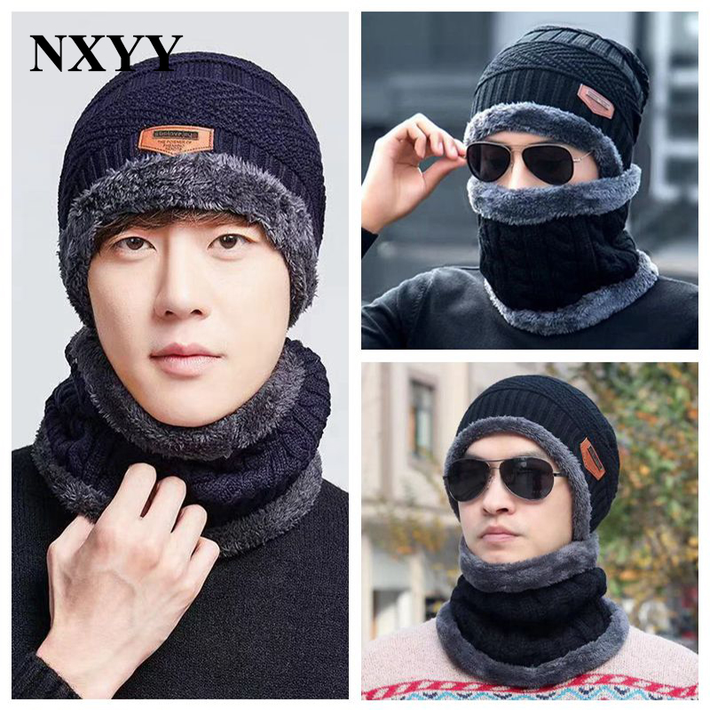 NXYY 2pc Knitted Hat With Scarf Set Ear Protector Cold Proof Men Winter Cap Velvet Thickening Motorcycle Windproof Bib Bib Male