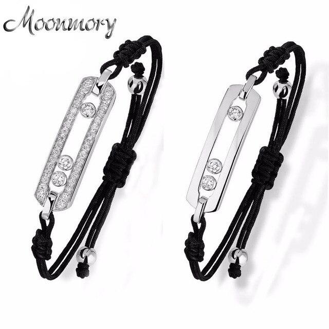 Moonmory fransa sıcak satış takı hareket taş bilezik 925 ayar gümüş bilezik siyah halat kadınlar için ayarlanabilir bilezik