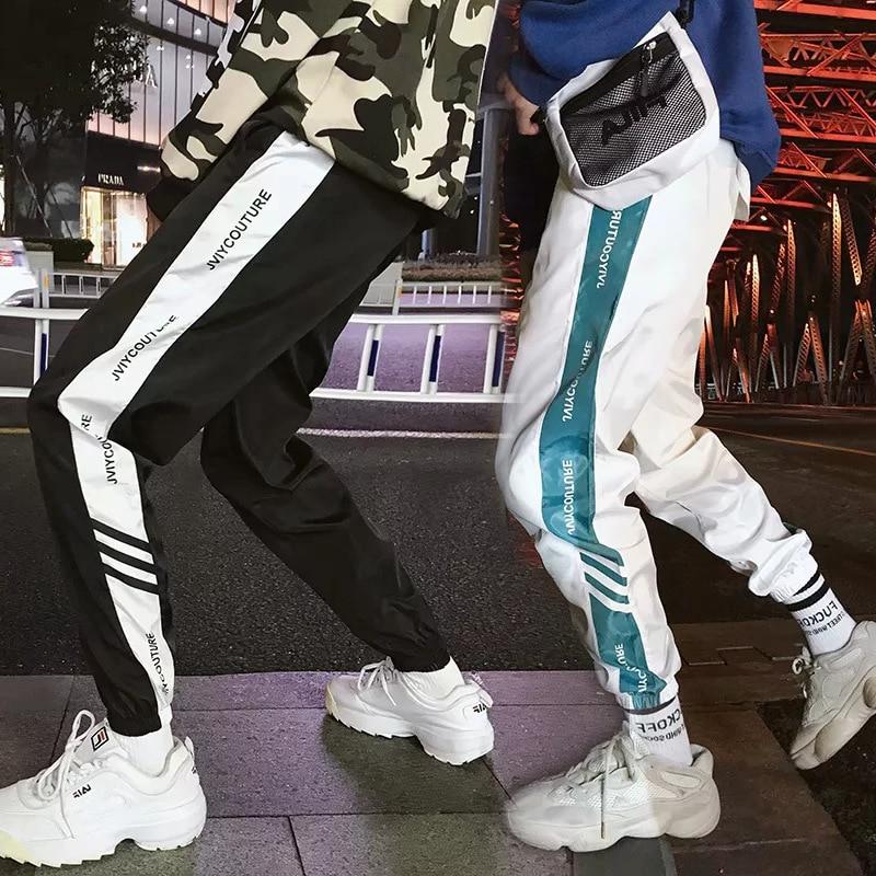 New Style Men's Casual Pants Fashion INS Retro White Xi Ha Ku Loose-Fit Capri Ankle Banded Pants Sub-Couples Athletic Pants