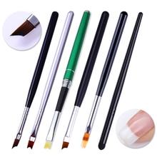 Кисть для ногтей Французский наконечник в форме полумесяца акриловая ручка для рисования ногтей маникюр инструмент для дизайна ногтей Гель-лак для ногтей DIY