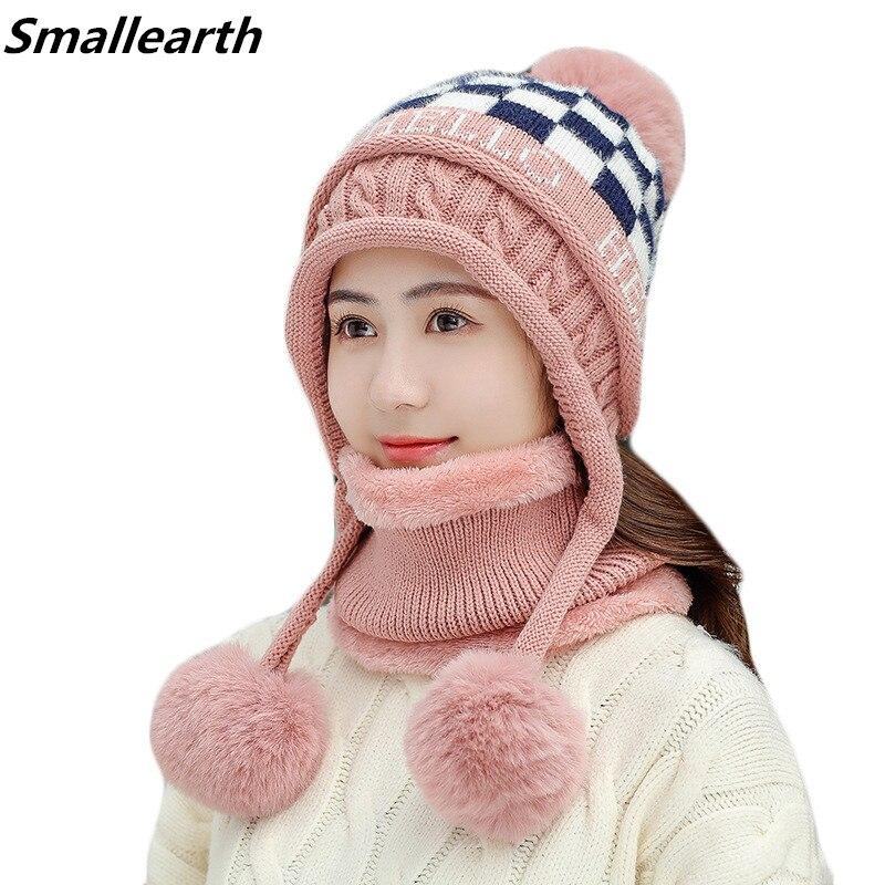 Women's Plus Velvet Thick Hat Scarf Sets Winter Warm Beanies Scarves Set For Girls Plush Bonnet Femmale Skullies Riding Caps
