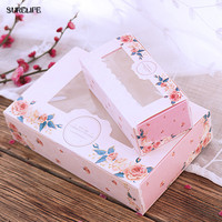 50pcs Paper Gift Box With Window Wedding Party Pink Rose Wreath Kraft Paper Box Cake Food Packaging Candy Cookies Cupcake