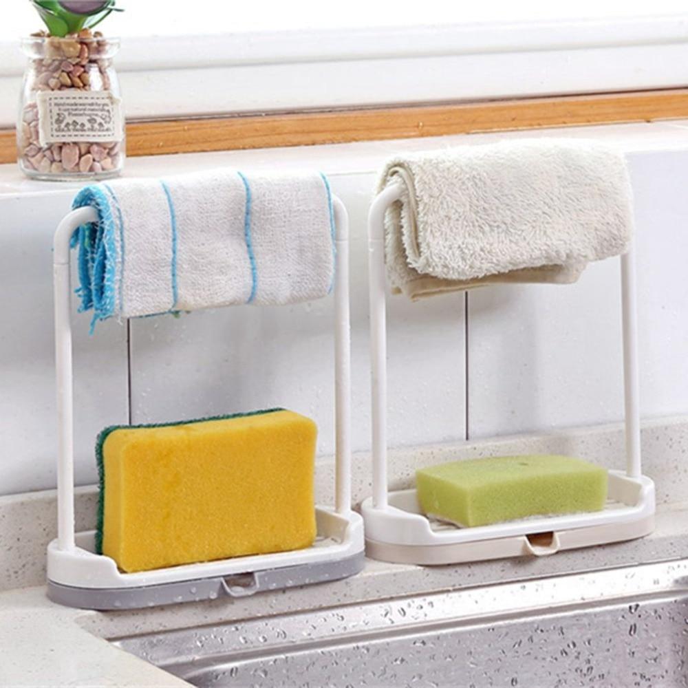 Fashionable Design Home Kitchen Storage Rack  Plastic Towel Rack Kitchen Washing Cloth Sponge Draining Holder Shelf Organizer