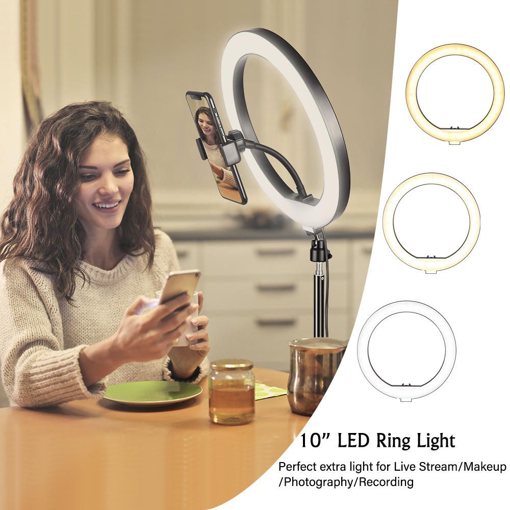 10inch LED Ring Light Photography Selfie Ring Lighting with Tripod Stand for Smartphone Youtube Makeup Video Studio Ring Lamp