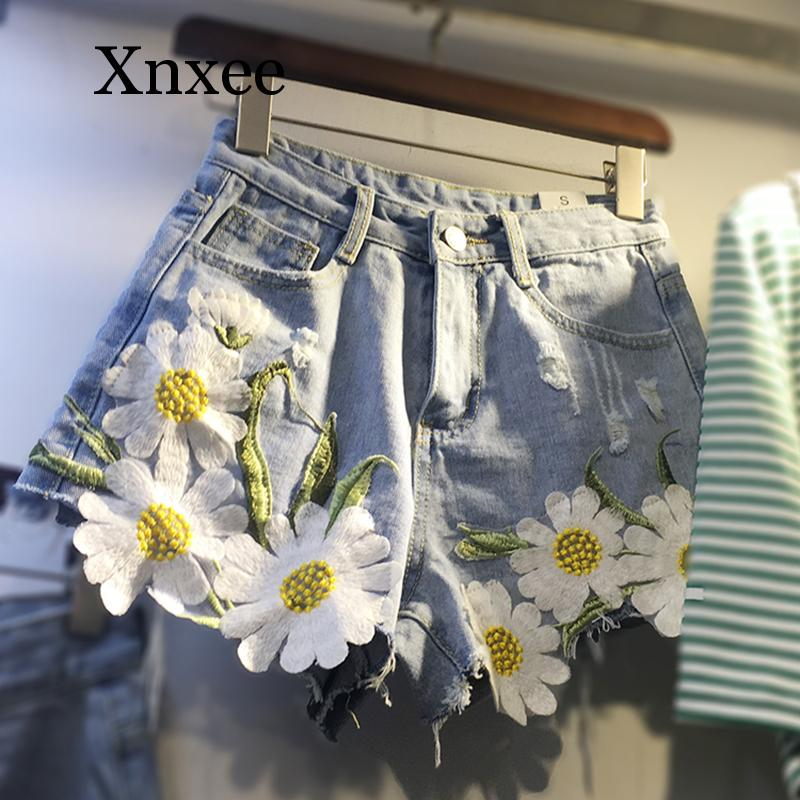 Floral Embroidery Denim Shorts Women Summer Plus size Wide leg Jeans Short Pants blue short bottom sunflower flower beach summer