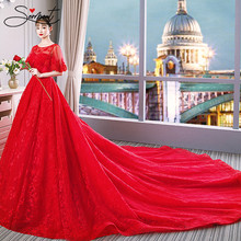 SERMENT Red Luxury Wedding Dress Cathedral Floral Print Cathedral Lace Up Short Sleeve Wedding Dress Ruffles Free Custom Made(China)