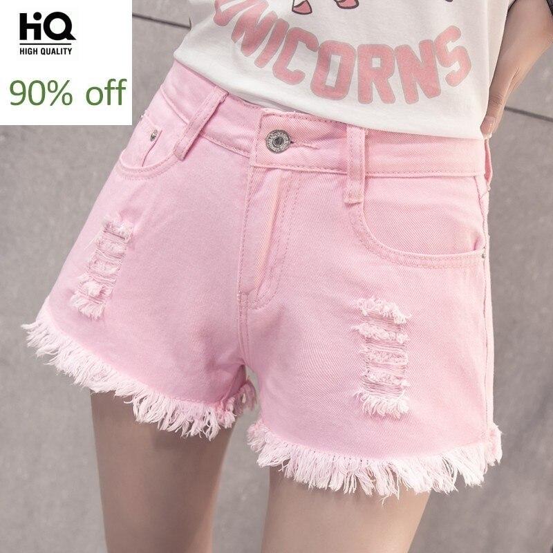 High Waist Shorts Women Summer New Fashion Casual High Street Hole Ripped Zipper Jeans Office Lady Hot Sale Denim Short Feminino