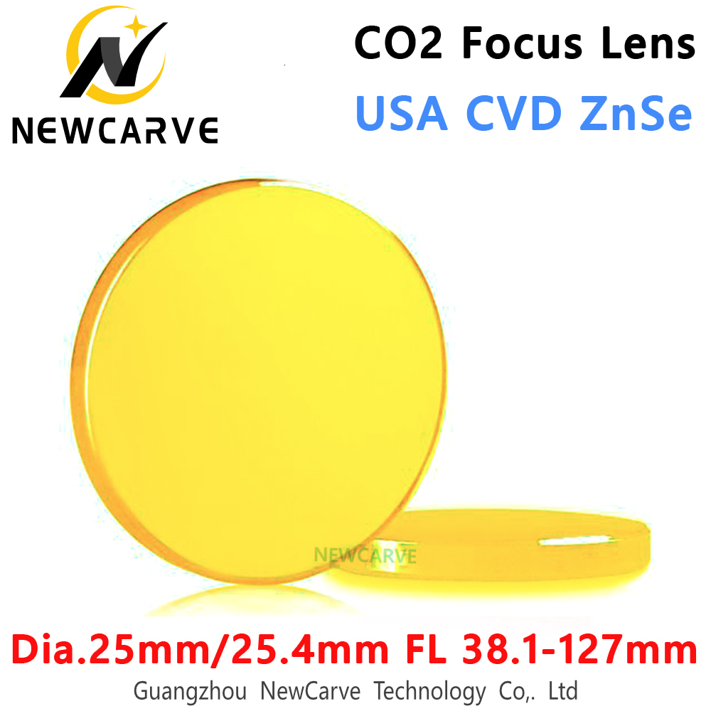"CO2 Laser Focus Lens USA CVD ZnSe Diameter 25mm/25.4mm FL 38.1-127mm 1.5""2"" 2.5""3"" 4""5"" For Laser Cutting Machine NEWCARVE"