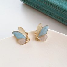 Coreano bonito gota de metal óleo borboleta parafuso prisioneiro brincos temperamento doce menina moda feminina jóias clipe de ouvido acessórios