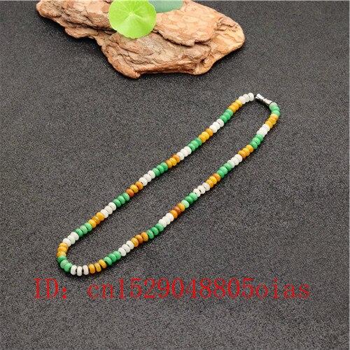 Jade jadéite tricolore naturel 6mm perles collier émeraude bijoux de charme de mode amulette sculptée cadeaux pour femmes hommes