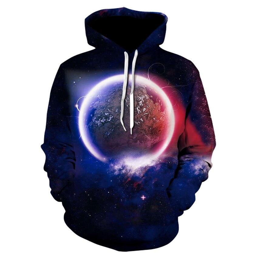 2019 Hoodie Spring And Autumn Menswear Slim Fit Hoodie Sweatshirt, 3D Space Earth Casual Sportswear Street Brand Men's Wear