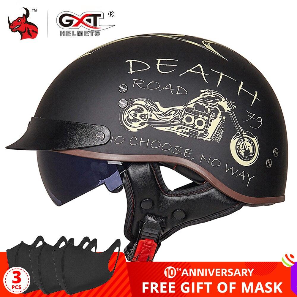 GXT DOT Certification Retro Motorcycle Helmet Moto Helmet Scooter Vintage Half Face Biker Motorbike Crash Moto Helmet Casco Moto
