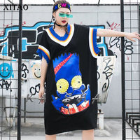 XITAO Tide Brand Loose Plus Size Dress Women Contrast V Neck Loose Personality Rivet Patch Dresses Trend Wild Streetwear XJ4374