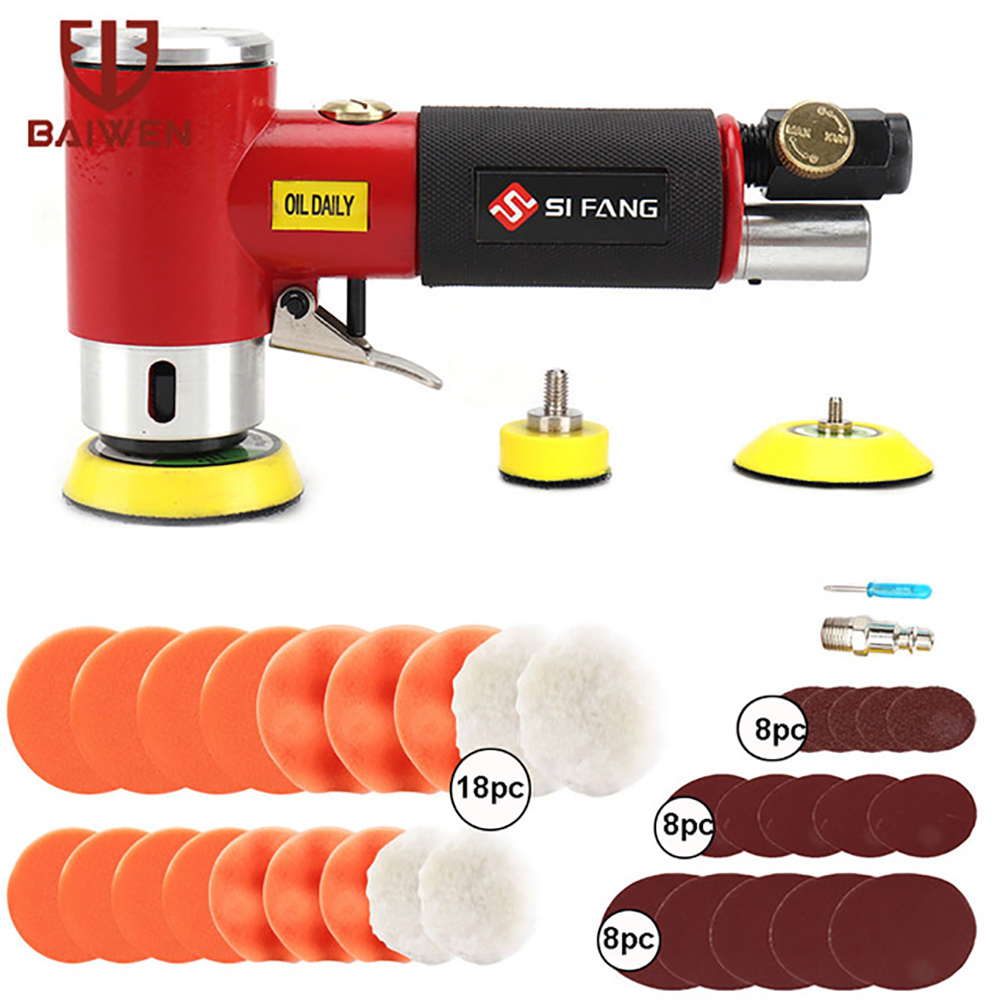 2   3   Mini Air Sander Pneumatic Orbital Polishing Grinding Machine Dual Action Orbital Polisher Tools for Auto Body Work 48pcs